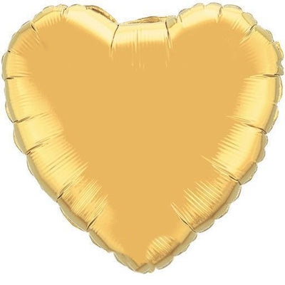 18 inch Gold Heart Foil Balloon with Helium