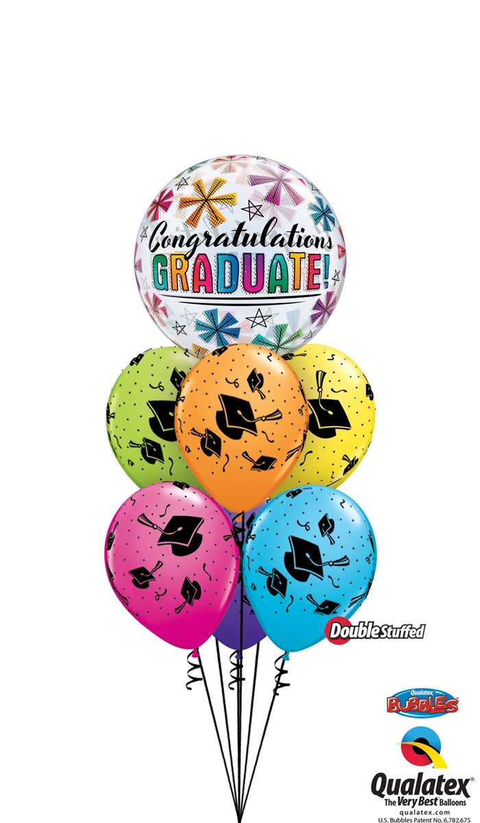 Graduation Stars Congratulation Bubbles Balloon Bouquet