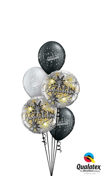 Graduation Congratulations Starburst Balloon Bouquet of 7