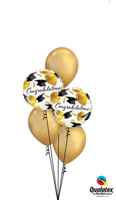 Graduation Congratulations Gold Balloon Bouquet of 7