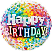 Happy Birthday Rainbow Polka Dots 18 inch Foil Balloon