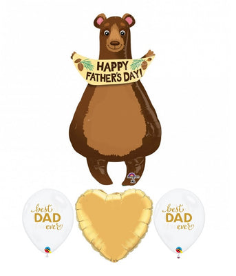 Happy Fathers Day Bear Best Dad Balloon Bouquet