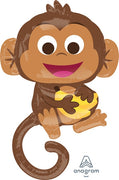 Happy Monkey with Bananas 36 inch Mylar Foil Balloons