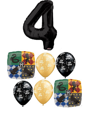 Harry Potter Pick An Age Black Number Birthday Balloon Bouquet