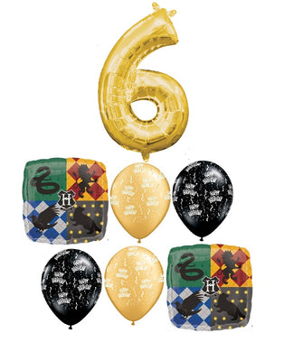 Harry Potter Pick An Age Gold Number Birthday Balloon Bouquet