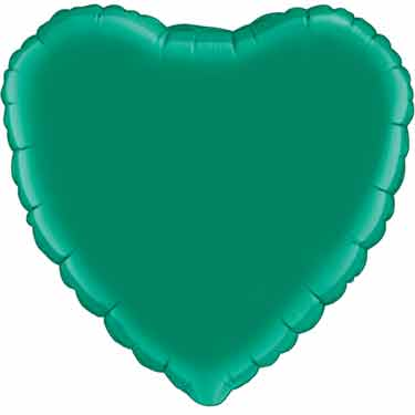18 inch Emerald Green Heart Foil Balloon with Helium