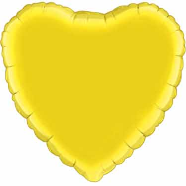 18 inch Yellow Heart Foil Helium Balloon