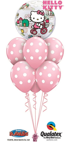 Hello Kitty Bubbles Pink Polka Dots Balloon Bouquet