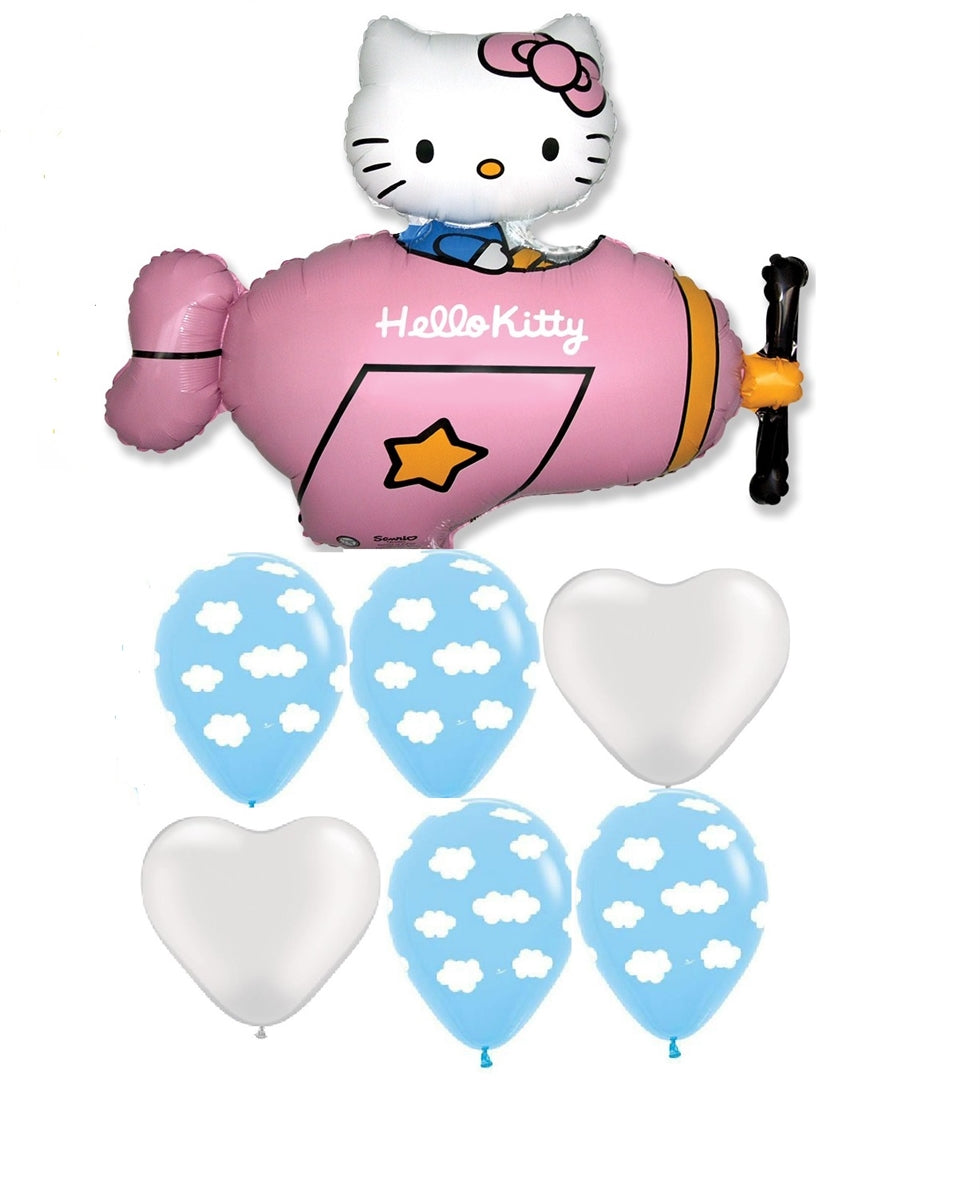 Hello Kitty Pink Airplane Balloon Bouquet
