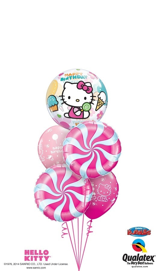 Hello Kitty Pink Candy Swirls Birthday Balloon Bouquet