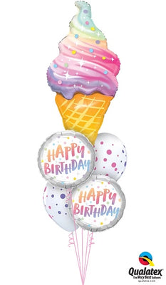 Ice Cream Cone Dots Birthday Balloon Bouquet