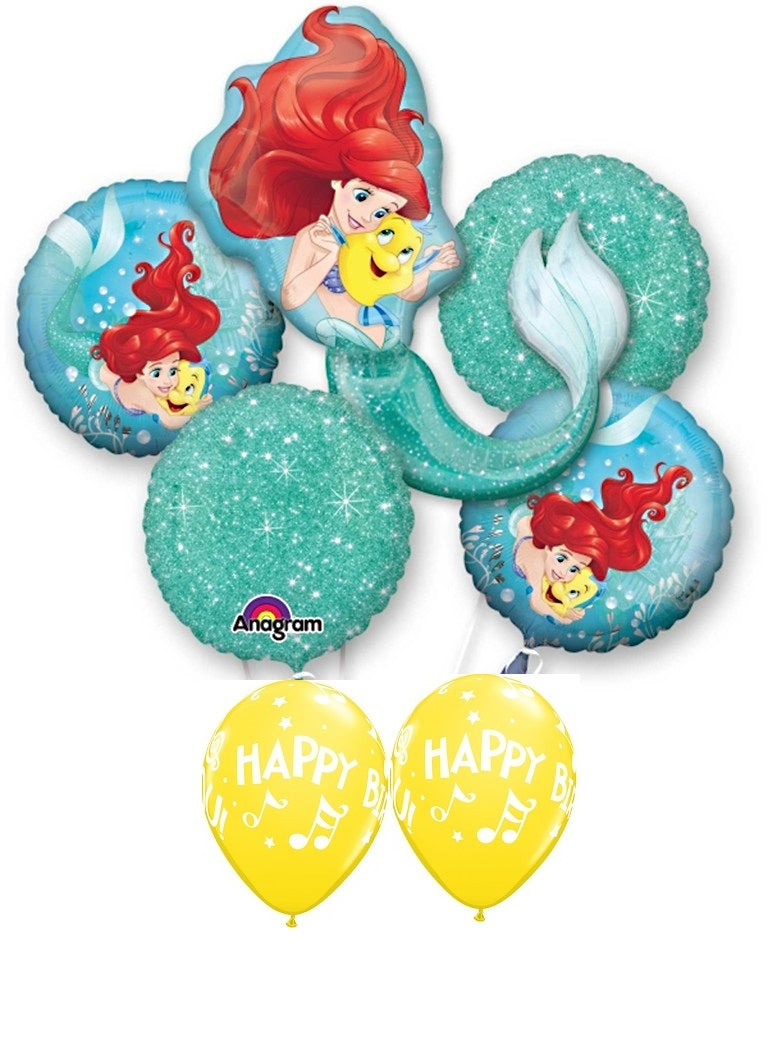 Little Mermaid Ariel Happy Birthday Balloon Bouquet