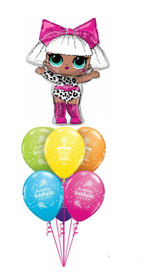 LOL Surprise Diva Birthday Cake Balloon Bouquet