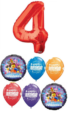 Lego Movie Pick An Age Red Number Birthday Balloon Bouquet