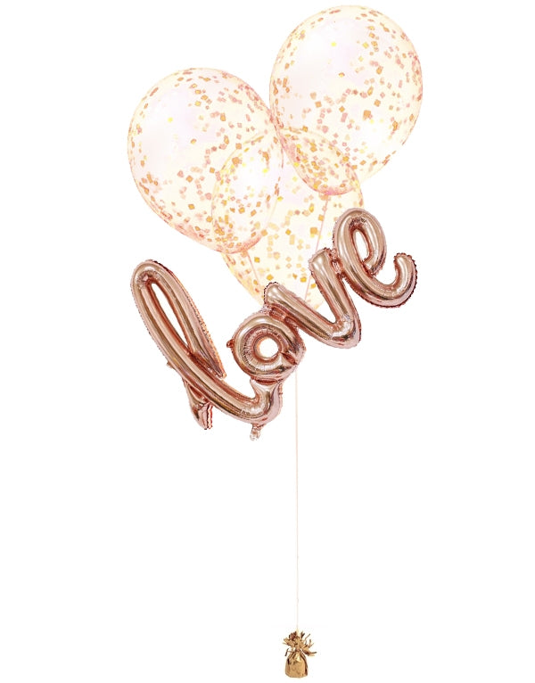 Love Confetti Script Balloon Bouquet