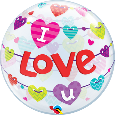 I Love You Colour Hearts Bubbles Balloon