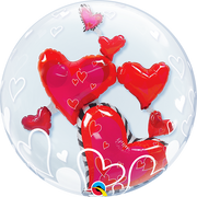 Love Red Hearts Double Bubbles Balloon
