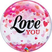 Love You Pink Lavender Hearts Bubbles Balloon