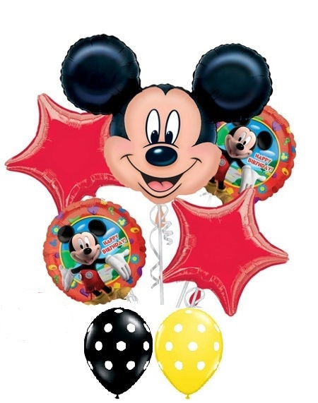 Mickey Mouse Happy Birthday Red Stars Balloon Bouquet