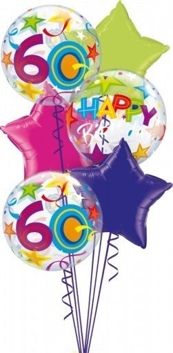 60th Birthday Bubbles Star Balloon Bouquet 3