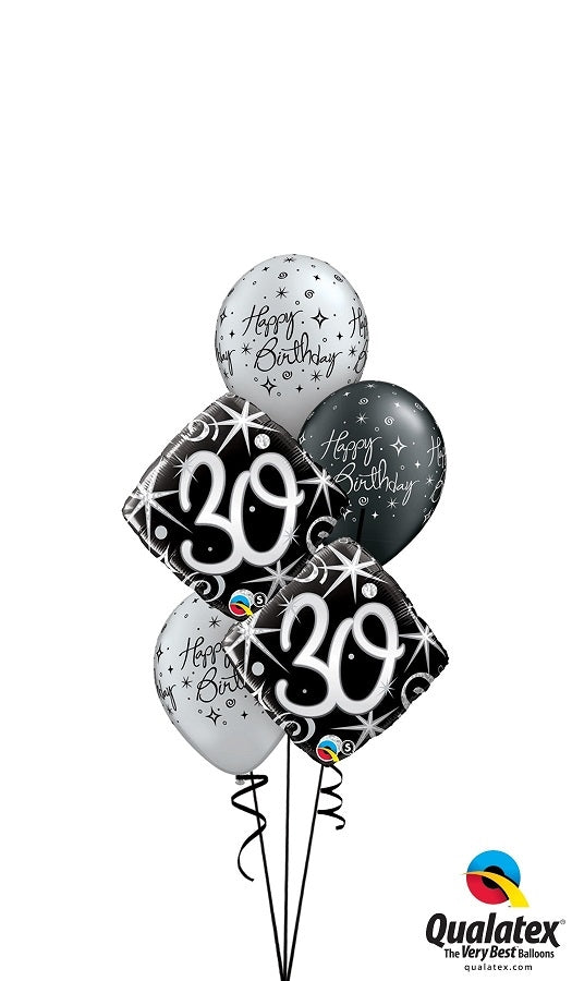 30th Elegant Birthday Balloon Bouquet 2