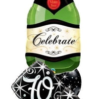 70th Elegant Champagne Birthday Balloon Bouquet