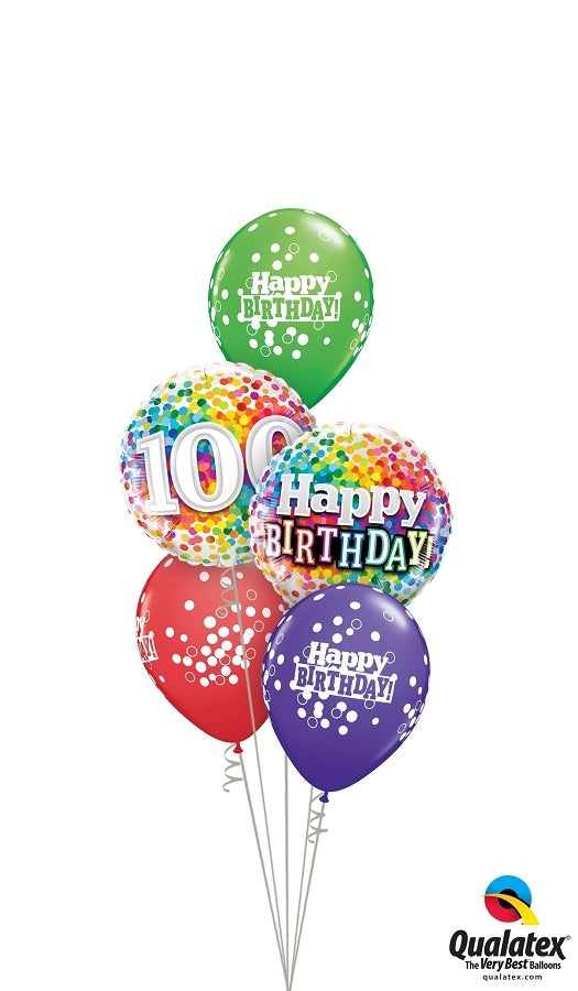 100th Birthday Rainbow Balloon Bouquet