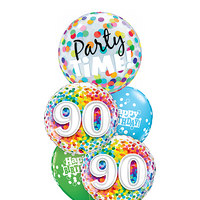 90th Birthday Party Time Rainbow Balloon Bouquet