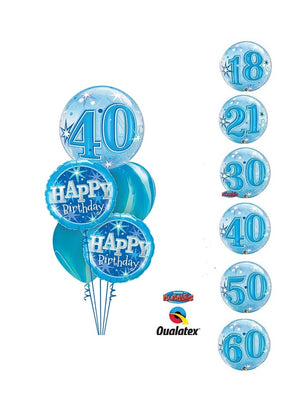 Pick An Age Blue Birthday Balloon Bouquet