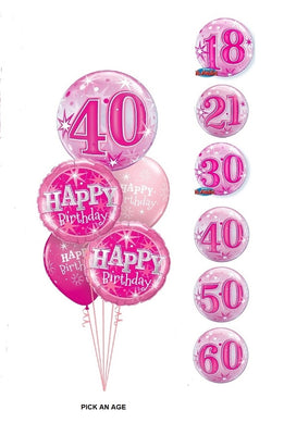 Pick An Age Pink Birthday Balloon Bouquet