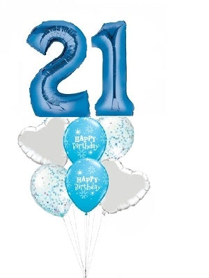 Pick An Age Blue Number Birthday Balloon Bouquet
