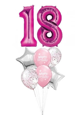 Pick An Age Pink Number Birthday Balloon Bouquet