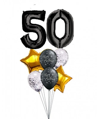 Pick An Age Black Number Birthday Balloon Bouquet