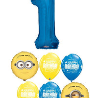 Minion Despicable Me Pick an Age Blue Number Birthday Balloon Bouquet