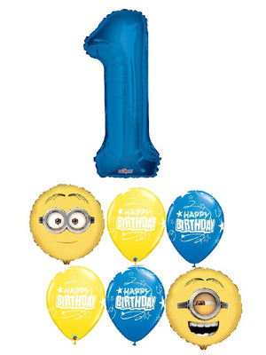 Minions Despicable Me Pick an Age Blue Number Birthday Balloon Bouquet