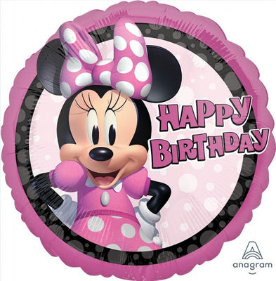 Minnie Mouse Happy Birthday 18 inch Mylar Foil Balloon with Helium