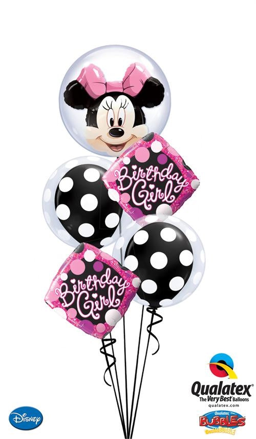 Minnie Mouse Double Bubbles Polka Dots Birthday Girl Balloon Bouquet