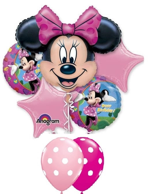 Minnie Mouse Happy Birthday Stars Polka Dots Balloon Bouquet