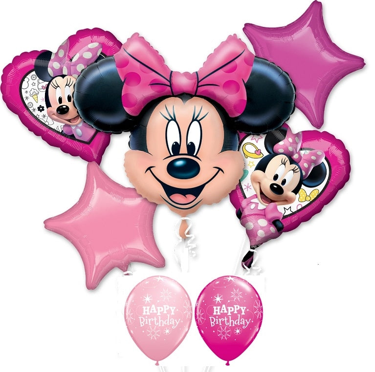 Minnie Mouse Hearts Stars Birthday Balloon Bouquet
