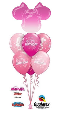 Minnie Mouse Ombre Head Birthday Balloon Bouquet