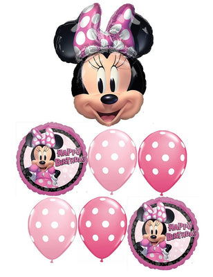 Minnie Mouse Polka Dots Happy Birthday Balloon Bouquet