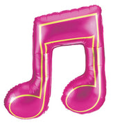 Music Note Double Magenta 40 Inch Foil Helium  Balloon