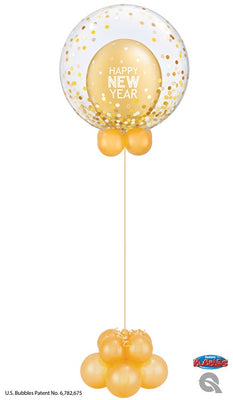 New Year Bubbles Gold Celebration Balloon Centerpiece