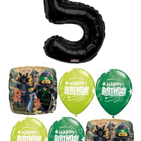 Ninjago Lego Pick an Age Black Number Birthday Balloon Bouquet