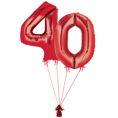Red Jumbo Balloon Number 40 Includes Helium and Weights