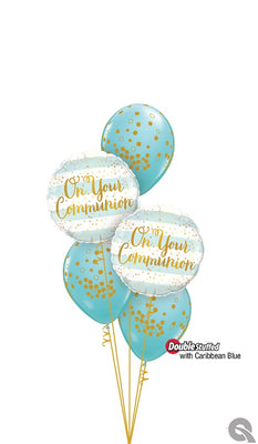 On Your Communion Blue Balloon Bouquet