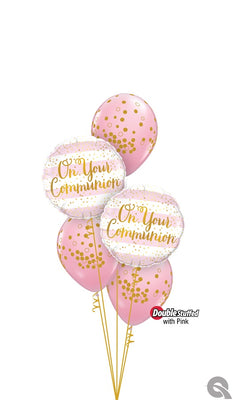 On Your Communion Pink Dots Balloon Bouquet