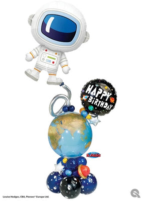 Outer Space Adorable Astronaut Earth Bubble Birthday Balloon Stand Up