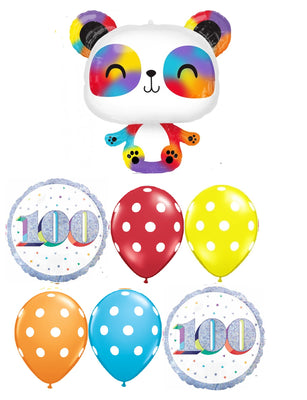 Panda Rainbow 100 Days Polka Dots Balloons Bouquet