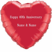 Personalized 36 inch Red Heart Shape Happy 40th Anniversary Names